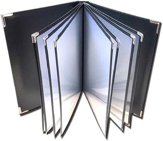 QSJY File Cabinets Soporte for archivador a4 con 6 Paneles y 12 Bolsillos (imitación de Cuero + PVC + Metal) 32 * 25CM: Amazon.es: Hogar