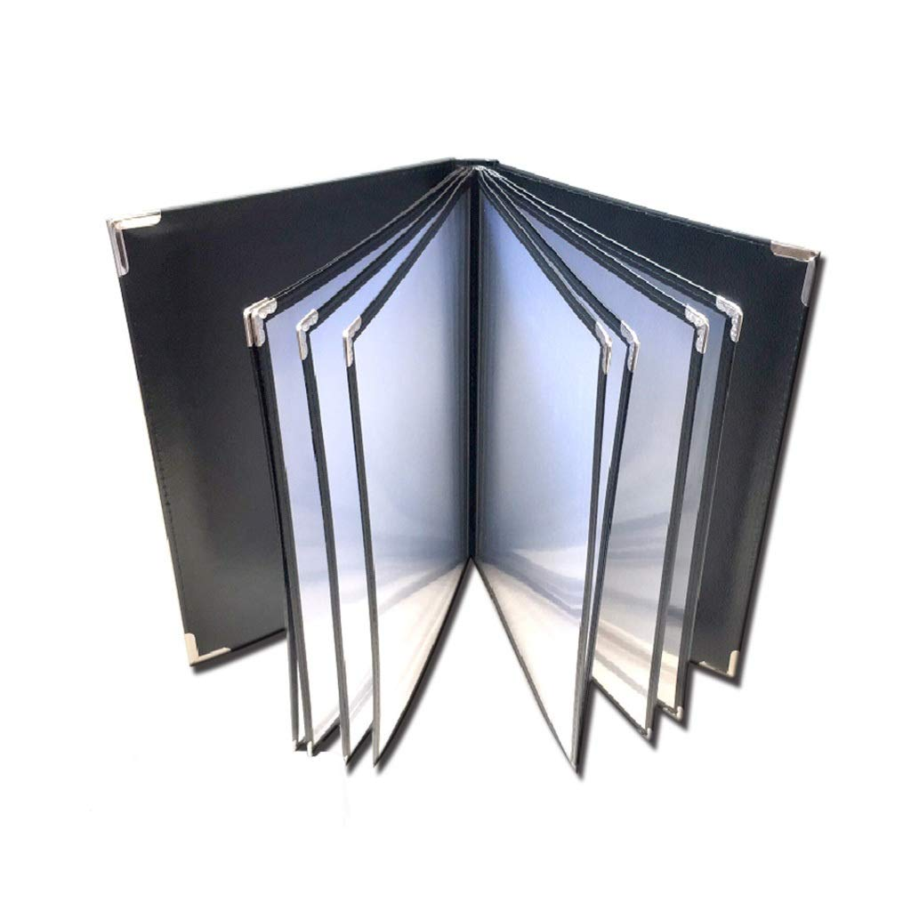 QSJY File Cabinets Document Display Folder a4 Black with 6 Panels and 12 Pockets(Imitation Leather+PVC+Metal) 3225CM