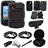 lg 305c phone case - LG 306G, LG 305C Case, LG 306G Tracfone, LG 305C Holster Case With Kickstand Locking Belt Swivel Clip - Includes 2 Chargers + 2 Cables + Earphone + Stylus (H Black)