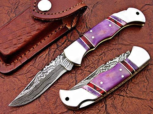 (FAYYAZ BROTHERS Handmade Damascus Steel Pocket Folding Knife/Pocket Knife AA-15261 to 15265 Back Lock (Purple Colored Bone))
