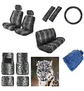 16 Pieces Snow White Leopard Interior Seat Cover Set With Front Low Back Covers