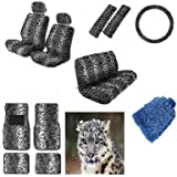 16 pieces Snow White Leopard Interior Seat Cover set With Front Low Back Seat Covers, Rear Bench Seat Cover 4 Pieces Gray Leopard Floor Mat set WITH FREE Microfiber WASH MITT - Premium Interior Set