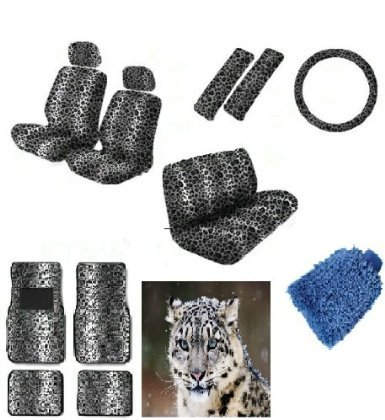 16 pieces Snow White Leopard Interior Seat Cover set With Front Low Back Seat Covers, Rear Bench Seat Cover 4 Pieces Gray Leopard Floor Mat set WITH FREE Microfiber WASH MITT - Premium Interior Set (Car Zebra Covers Seat White)