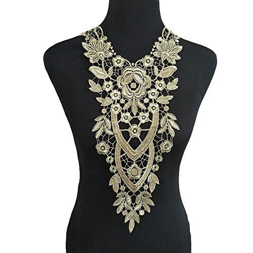 Gold Embroidered Lace Neckline Collar Warm Tones Floral Brown Leaf Applique Patches Scrapbooking Embossed Sewing (Style A)