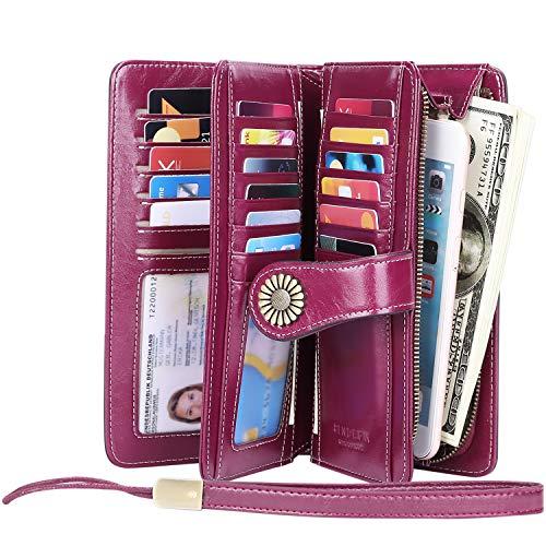 KELEEL Women's RFID Blocking Wallet Genuine Leather Clutch Wallet Card Holder Organizer Ladies Purse (Purple)