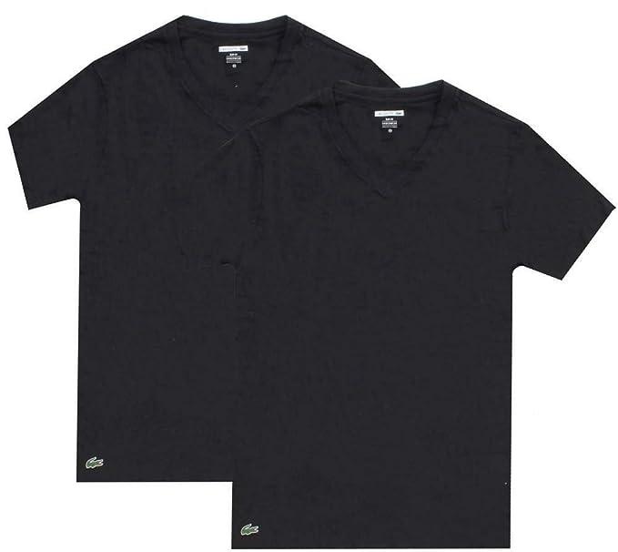 wylot nowy przyjeżdża najlepsza wyprzedaż Lacoste Men's 2 Pack Slim V-Neck T-Shirt, Black at Amazon ...