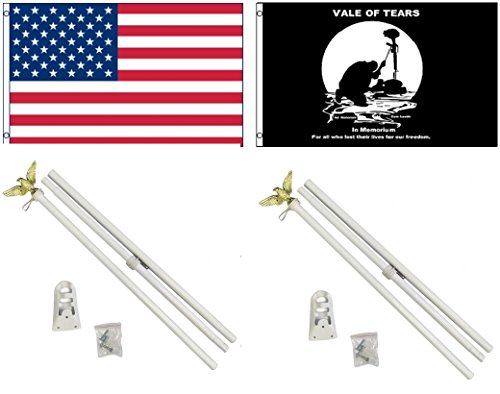 3'x5' US AMERICAN and POW MIA VALE OF TEARS Polyester Flags and TWO 6' POLE KITS