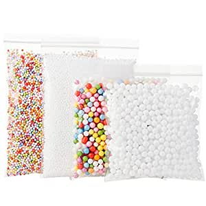 Funballs Foam Beads for Slime DIY – Styrofoam Slime Beads withFruitSplice and Sticky Googly Eyes for Kids Art Crafts, Crunchy Floam Slime, Home Decor and Party Decorations