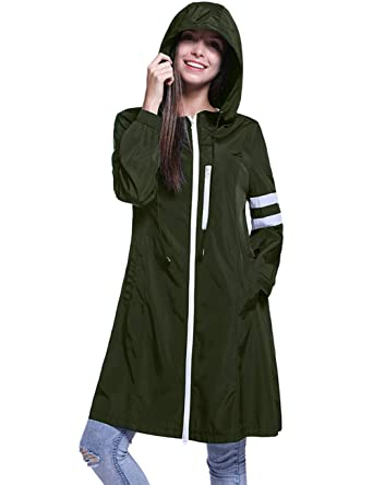 8fbefb56fc932 Fancyqube Women s Lightweight Packable Active Outdoor Rain Jacket Hooded  Waterproof Breathable Raincoat Army Green S