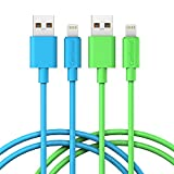 Apple Lightning Cable, Cambond 2 Pack Apple Certified Cable Stepped iPhone Cord 8 Pin Lightning to USB Charge and Sync for iPhone 8 8 Plus 7 Plus 6s 6s Plus iPad Air, mini, iPod ( Blue+Green 6 ft )