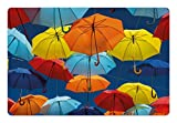 Ambesonne Colorful Pet Mat for Food and Water, Umbrellas Colors The Sky Traditional Portugal Festive European Culture Picture, Rectangle Non-Slip Rubber Mat for Dogs and Cats, Multicolor