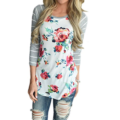 Jessica Floral Blouse - Jessica CC Women's Casual Raglan Striped 3/4 Sleeve Floral Printed T Shirt Blouse Top