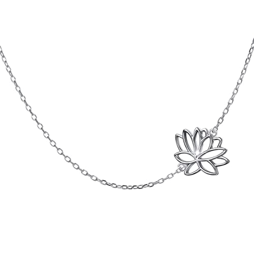 Amazoncom Sterling Silver Jewelry Sideways Rising Lotus Flower