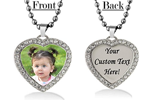 Engraved Heart Tag Necklace (Personalized Heart Custom Photo Color and Engraved Dog Tag Necklace Pendant with 24 inch Stainless Steel Chain with velvet Giftpouch and Keyring (Silver Tone Heart CZ))