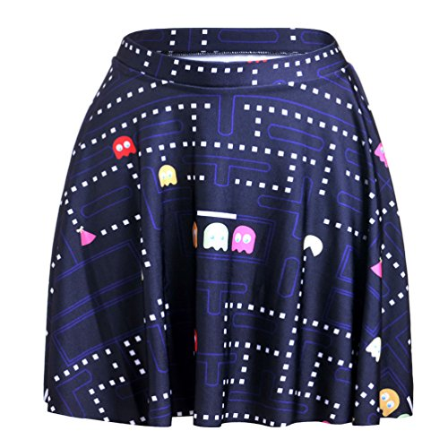 Aoliait Femme Jupe Court Dcontracte Jupe A-Line Lache Jupe Plisse Slim Fit Femelle Jupe ImprimEs Fashion Skirt Beau Jupe Blue