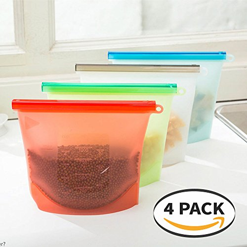 Eutuxia Reusable Silicone Food Storage Bags, Versatile Leak-proof Preservation Container for Storing Foods and Liquids [4 PK]
