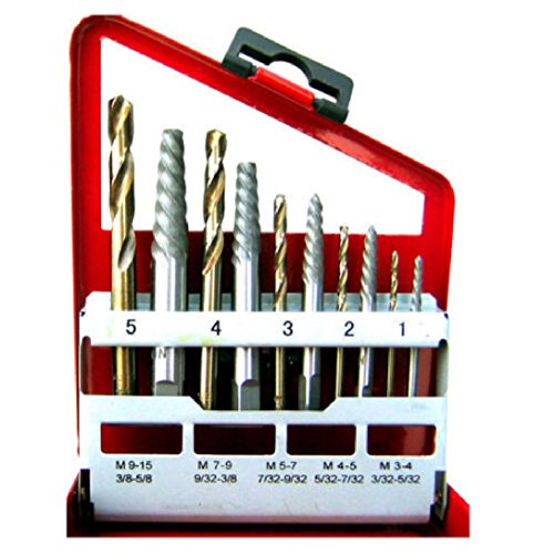 Price comparison product image 10 Pieces Screw Extractor and Cobalt Bit Set Right Hand Cobalt Drill Bit Set Easy Out Broken Bolt