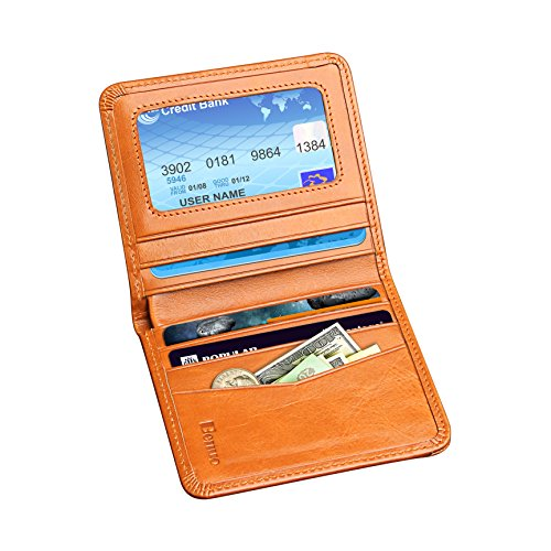 Premium Front Pocket Wallet, Handmade Bifold Genuine Leather Wallet, Ultra Slim Credit Card Holder, RFID Blocking Back Pocket Wallet for Men/Women (Br…