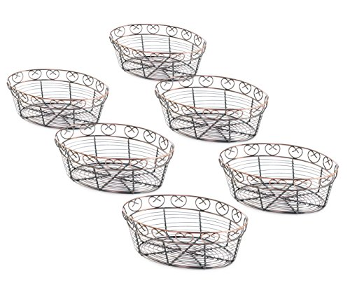 (New Star Foodservice 22117 Antique Bronze Finished Oval Wire Bread Basket, 10 by 6.5 by 3-Inch, Set of 6)