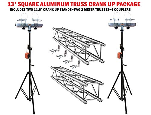 Two 11.6' Crank Up Stands With Two 6.56' Square Aluminum Truss Segments ()