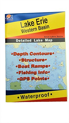 Lake Erie Western Basin Map, GPS Points, Waterproof Detailed Lake Map #L127