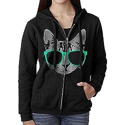 Womens Hoodie Sweatshirt Music Cat With Glasses Long Sleeve Zip-up Hooded Sweatshirt Jacket L