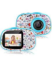 Kids Digital Camera - 8MP Children's Camera with Large Touch Screen for 3-12 Years Old Boys and Girls, Rechargeable Shockproof Camcorder Camera with 16GB TF Card