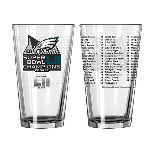 Philadelphia Eagles Super Bowl LII 52 Champions Team Roster 16 Ounce Pint Glass – DiZiSports Store
