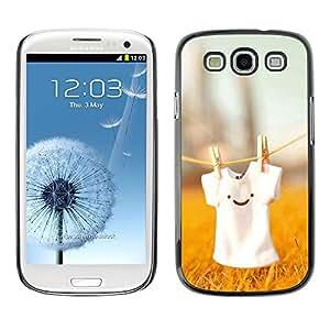 Be Good Phone Accessory // Dura Cáscara cubierta Protectora Caso Carcasa Funda de Protección para Samsung Galaxy S3 I9300 // Cute T Shirt Smiley