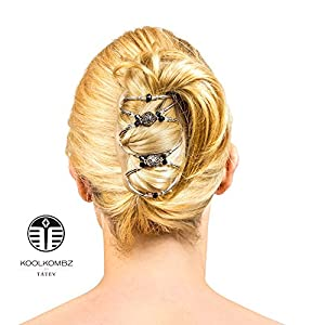 Best hair bun accessories for Women - Amazing with hair extensions - fancier than bows - can be used with other hair products - best hair clips for girls - teens - beautiful set of combs - crystals - rhinestone and silver plated metal beads make this decorative clip great for weddings - bridal updos - great way of styling your hair - BUY NOW - LIFETIME GUARANTEE (Diamond (cream comb))