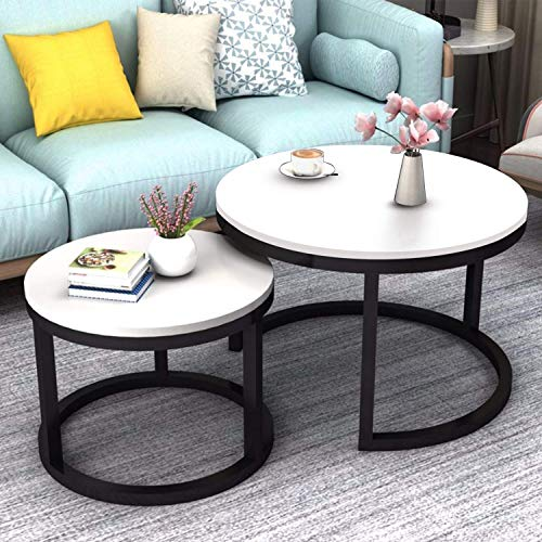 JERRY & MAGGIE - 2 Round Tea Table Coffee Table Desk Sets   White - Twin Sets Multi Function Wood & Steel Living Room Home Decor Polished Surface Overlapping Ending Tables Cocktail Table (Tables White For Sale Round)