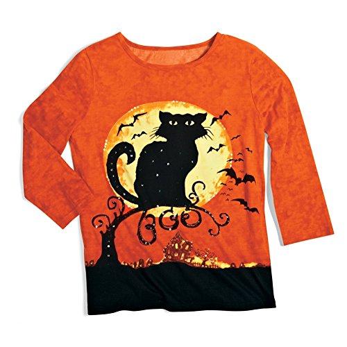 Halloween Shirts (Women's Halloween Black Cat 3/4 Sleeves Scoopneck Top, Orange, Large)
