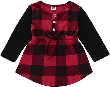 Chloefairy - Camisa de manga larga para bebé, con cinturón, de algodón, diseño a cuadros, color rojo y negro Rojo-b 110 cm: Amazon.es: Ropa y accesorios