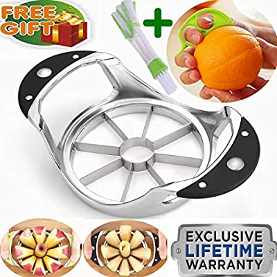 Apple Corer Slicer+Orange peeler+cleaning brush, Apple Slicer Stainless  steel Core remover Blooming Onion Cutter Pear Divider Wedger Metal Decorer