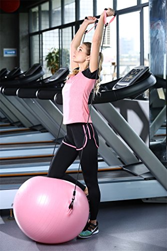 Fitness Ball with Workout Bands, Adding Arm Workout for Upper Body Shoulder Pain Relief in Ball Exercises, Anti burst with Foot Pump