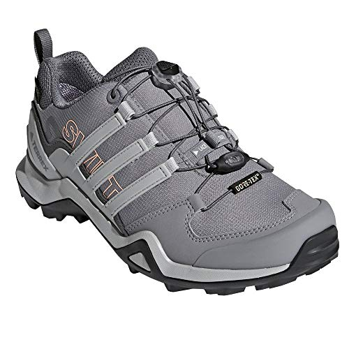 adidas outdoor Terrex Swift R2 GTX Womens Hiking Boots, (Grey Three, Grey Two, Chalk Coral), Size 9