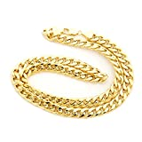 Men's 10k Yellow Gold Hollow Links 9mm Miami Cuban Link Chain Necklace, 24''