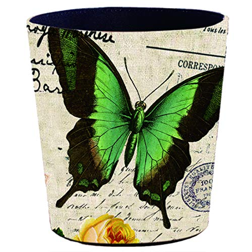 (RuiyiF Deskside Recycle Bin Vintage Wastebasket Farmhouse Bathroom Trash Can Without Lid, Garbage Can Kitchen Kids Bedroom Office Waste Bin (Butterfly) )