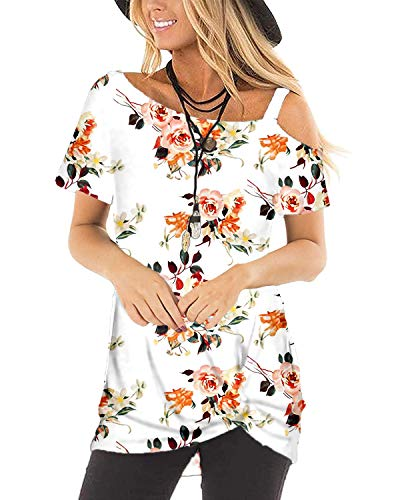 Womens Floral T Shirts Cute Tops Blouses Soft Twist Tunics Present White S