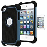 Bastex Hybrid Armor Case for Apple iPod Touch 4, 4th Generation - Blue+BlackINCLUDES SCREEN PROTECTOR