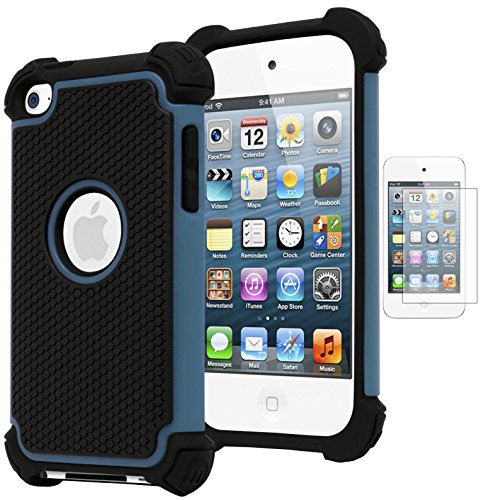 Bastex Hybrid Armor Case for Apple iPod Touch 4, 4th Generation - Blue+BlackINCLUDES Screen Protector -
