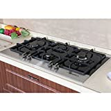 Fashion Euro Style 34.6 inch LPG & NG Stainless Steel Tempered Glass Built-in Kitchen 4 Burner Gas Hob Cooktops Cooker Top