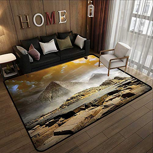 Outdoor Rugs,Egyptian Decor,Storm Clouds Over Pyramids Magical Photo of Ancient Culture Icons Middle Eastern Art,Cream Orange 78.7