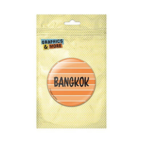 Bangkok Pin (Bangkok Thailand Stripes Pinback Button Pin Badge - 1 Inch Diameter)