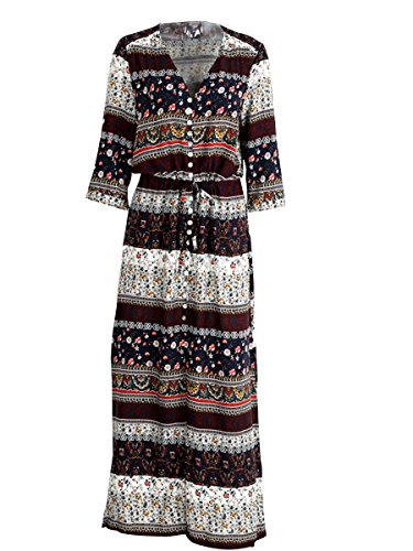 Dress Women's Maxi Paisley Simplee Brown Print Sundress 4 Floral Sleeve 3 Apparel z15qxw5R6
