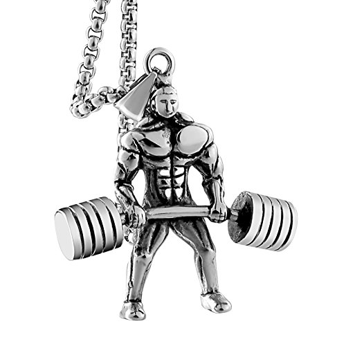 Aienid Necklace Mens Silver Women Fitness Hercules Barbell Weightlifting Necklace Chain Silver 55CM
