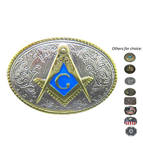 Oval Gold Mason Belt Buckle Freemasonry Masonic Gifts Buckles for Belts Men Blue Western Belts Buckles