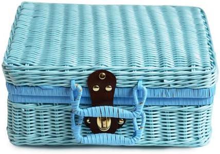 HWTP Cesto de Picnic de Viaje Hecho a Mano de Mimbre Estuche de Almacenamiento de la Maleta de la Vendimia Caja de Armadura Cajas de bambú al Aire Libre Organizador de ratán,Blue,A: