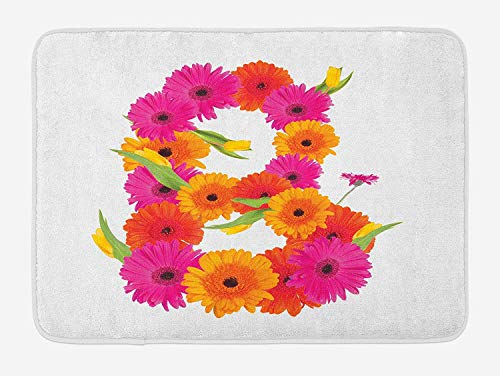 Letter B Bath Mat, Alphabet Symbol with Gerbera Daisies Summer Garden Themed Initial, Plush Bathroom Decor Mat with Non Slip Backing, 23.6 W X 15.7 W Inches, Orange Hot Pink ()