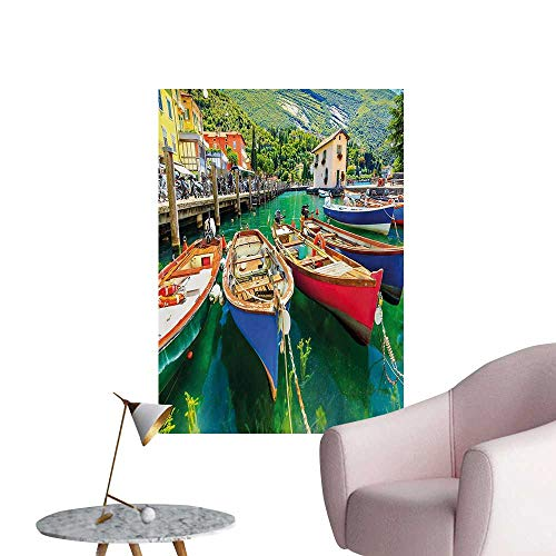 Anzhutwelve Italy Photographic Wallpaper Summer Landscape and Wooden Boats on The Lake Garda Torbole Town Fishing MaritimeMulticolor W24 xL32 Poster -